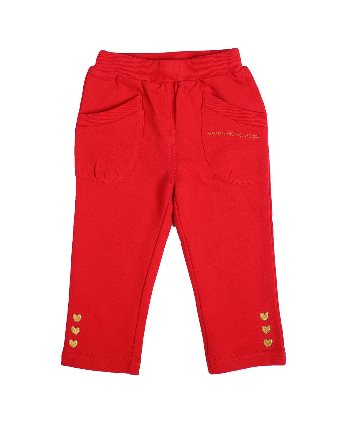 女童枣红色裤子a23