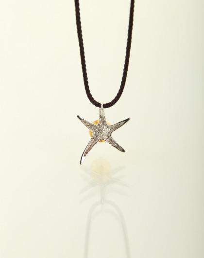 琥珀海星镶银纯银项链(配证书)