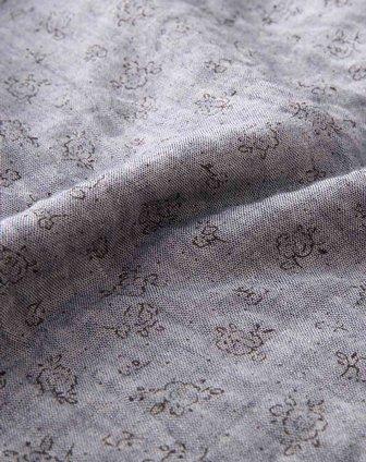 初语蓝灰色印花文艺长袖连衣裙331301172048