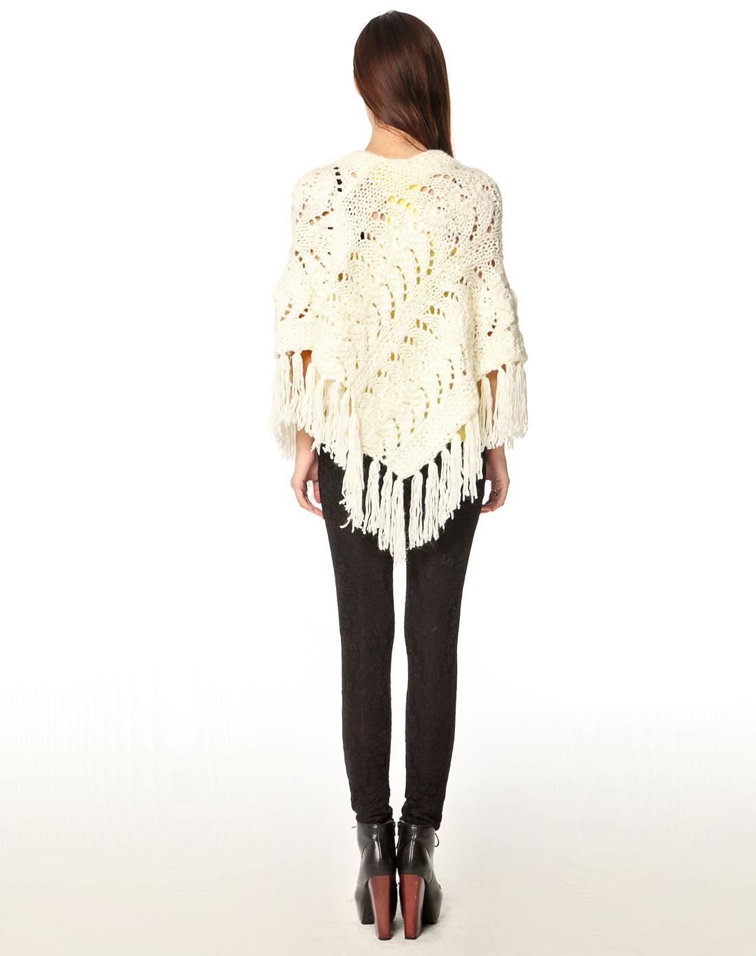 kopa白色针织时尚粗线毛线围巾披肩20100910009