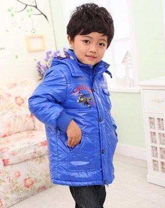 果男童童装_力果liguo男女童男童普蓝色活帽夹棉外套l114310700
