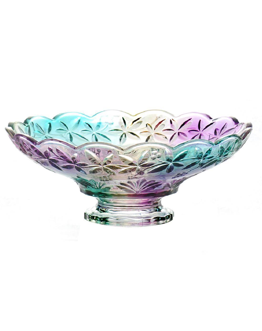 欧式炫彩水晶玻璃高脚水果盘糖果盆gp-003