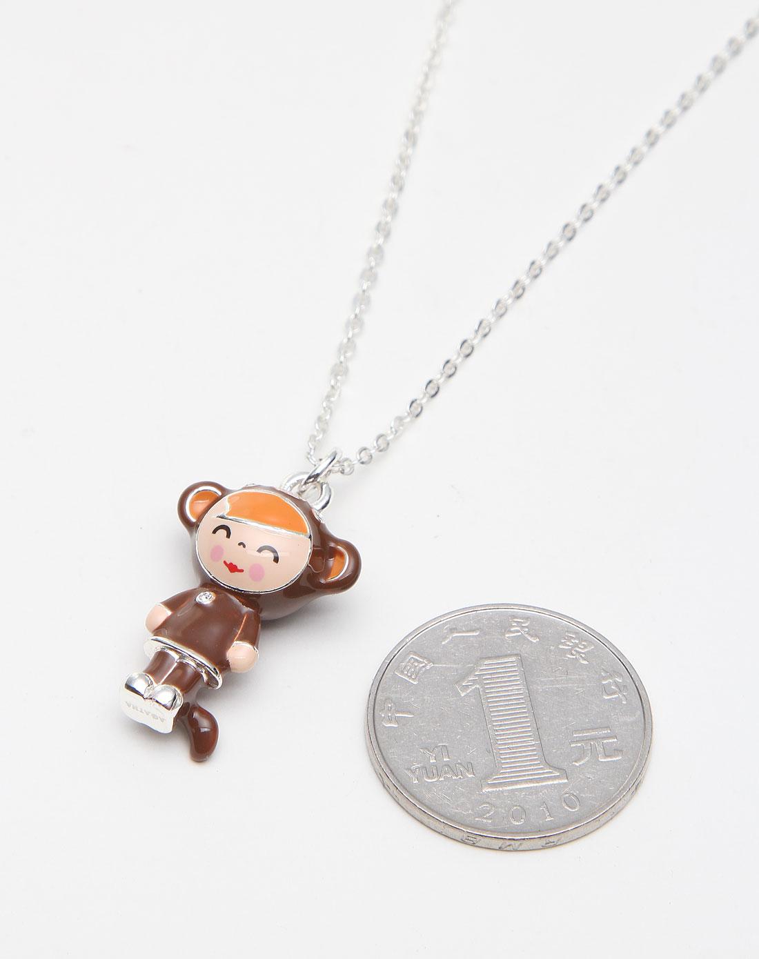 agatha棕色可爱小猴子生肖造型项链2650775-237-tu啡