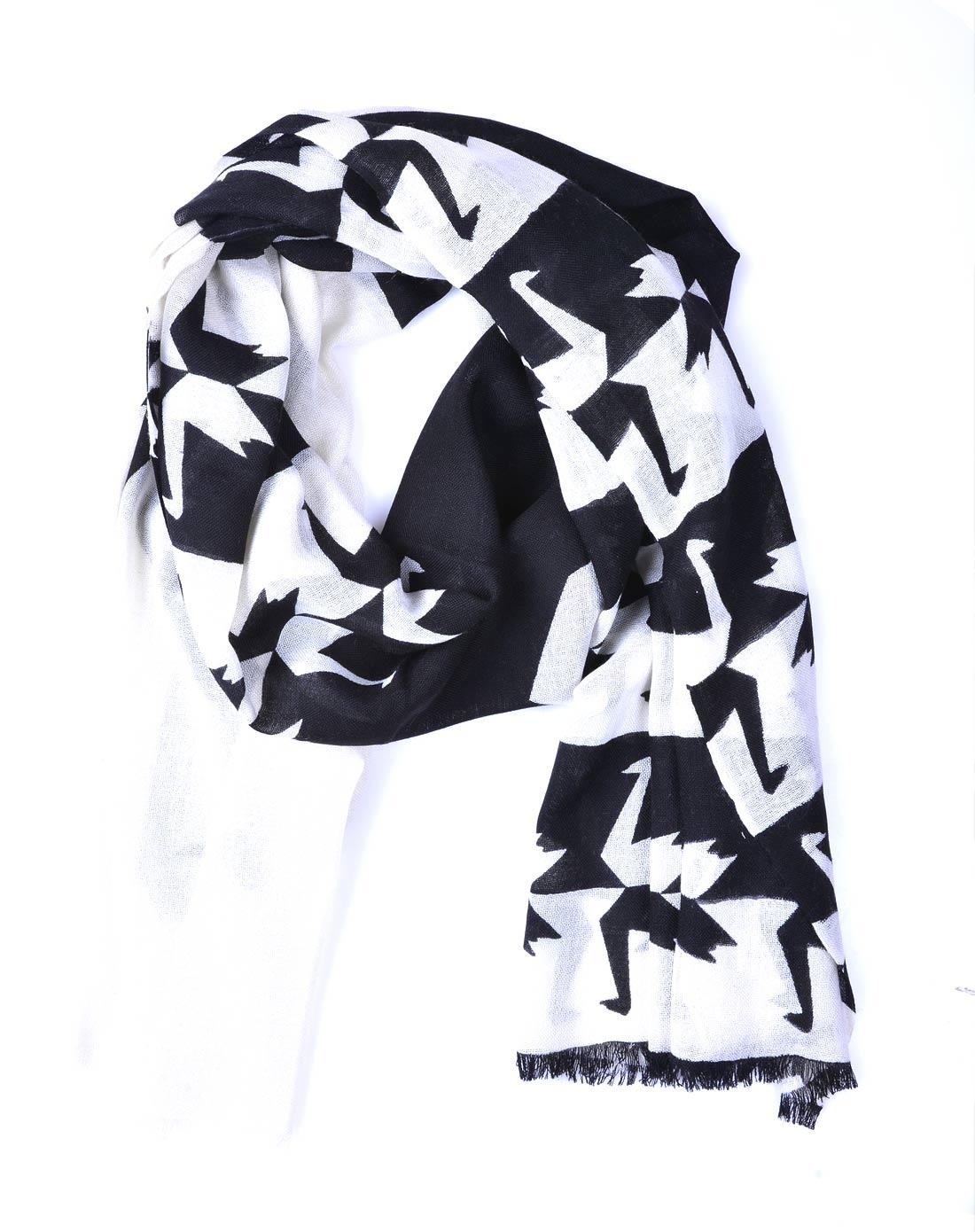 中性黑白天鹅印花羊毛围巾黑色