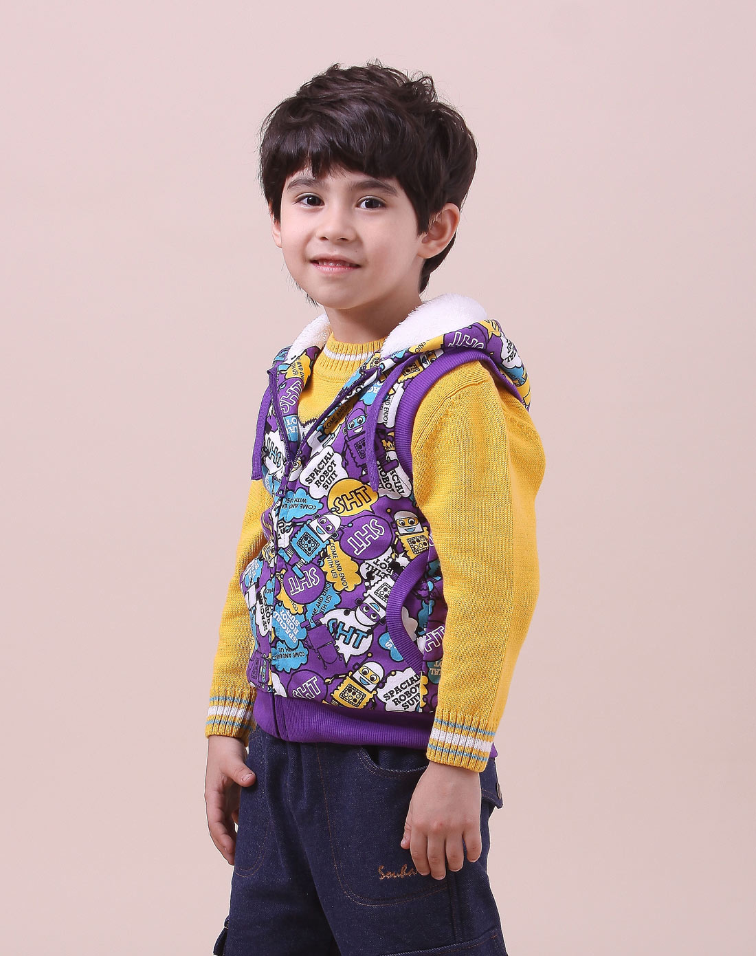 男童魔幻紫色男小童针织马甲