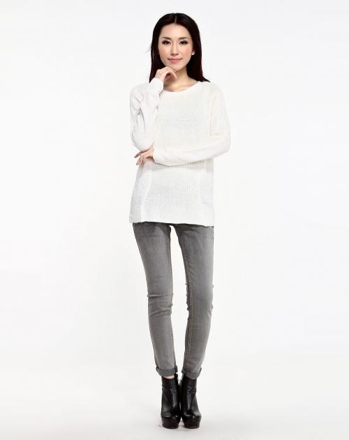 idole 浪漫界限针形变幻结构套衫-本白