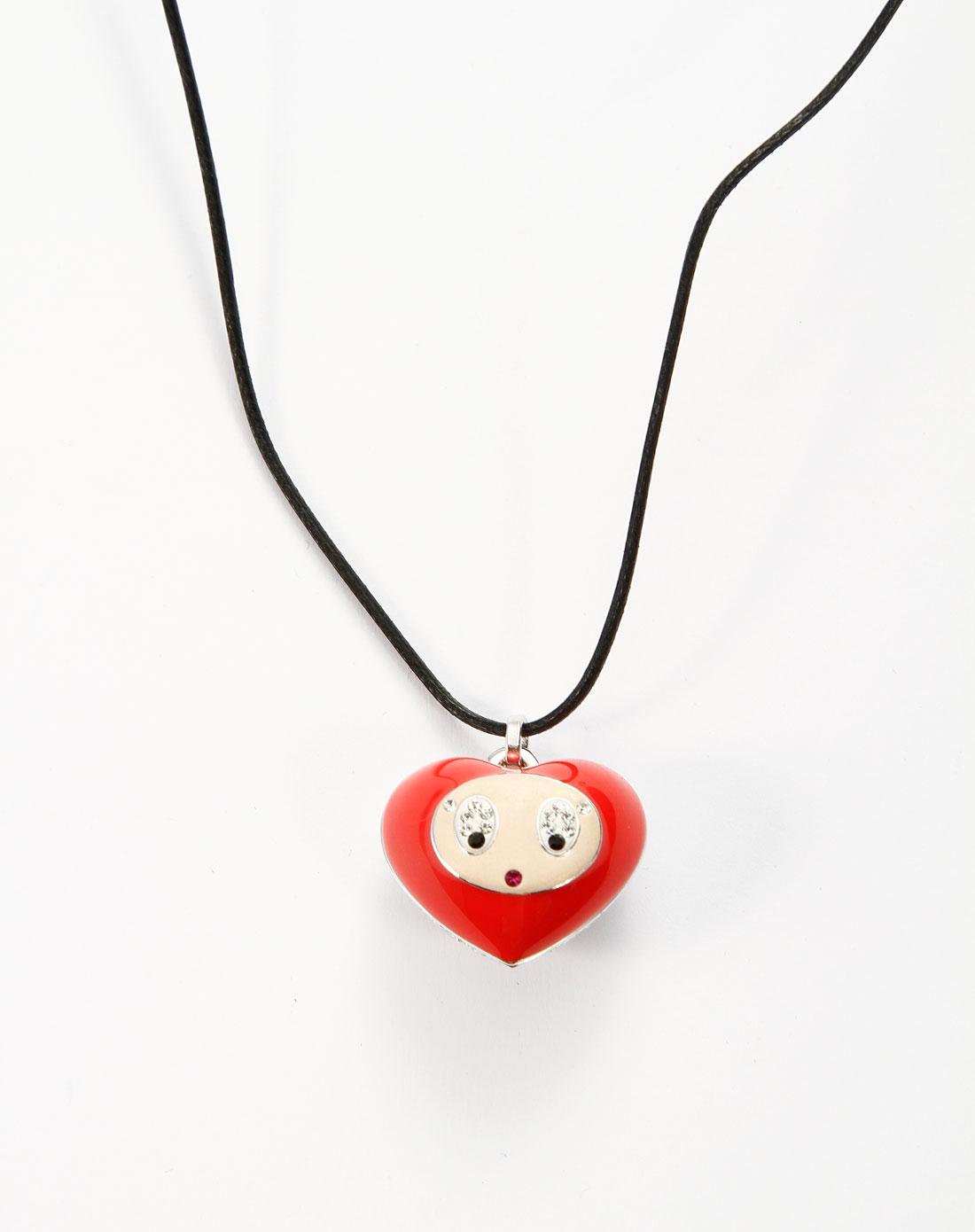 红/白色镶钻可爱心形表情吊坠项链