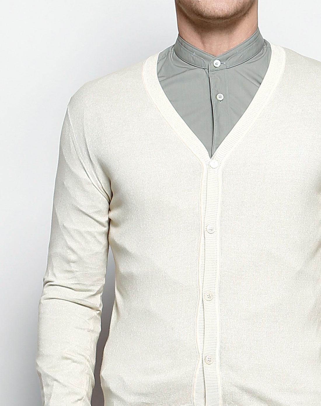 男款休闲简约浅米黄色长袖针织开衫