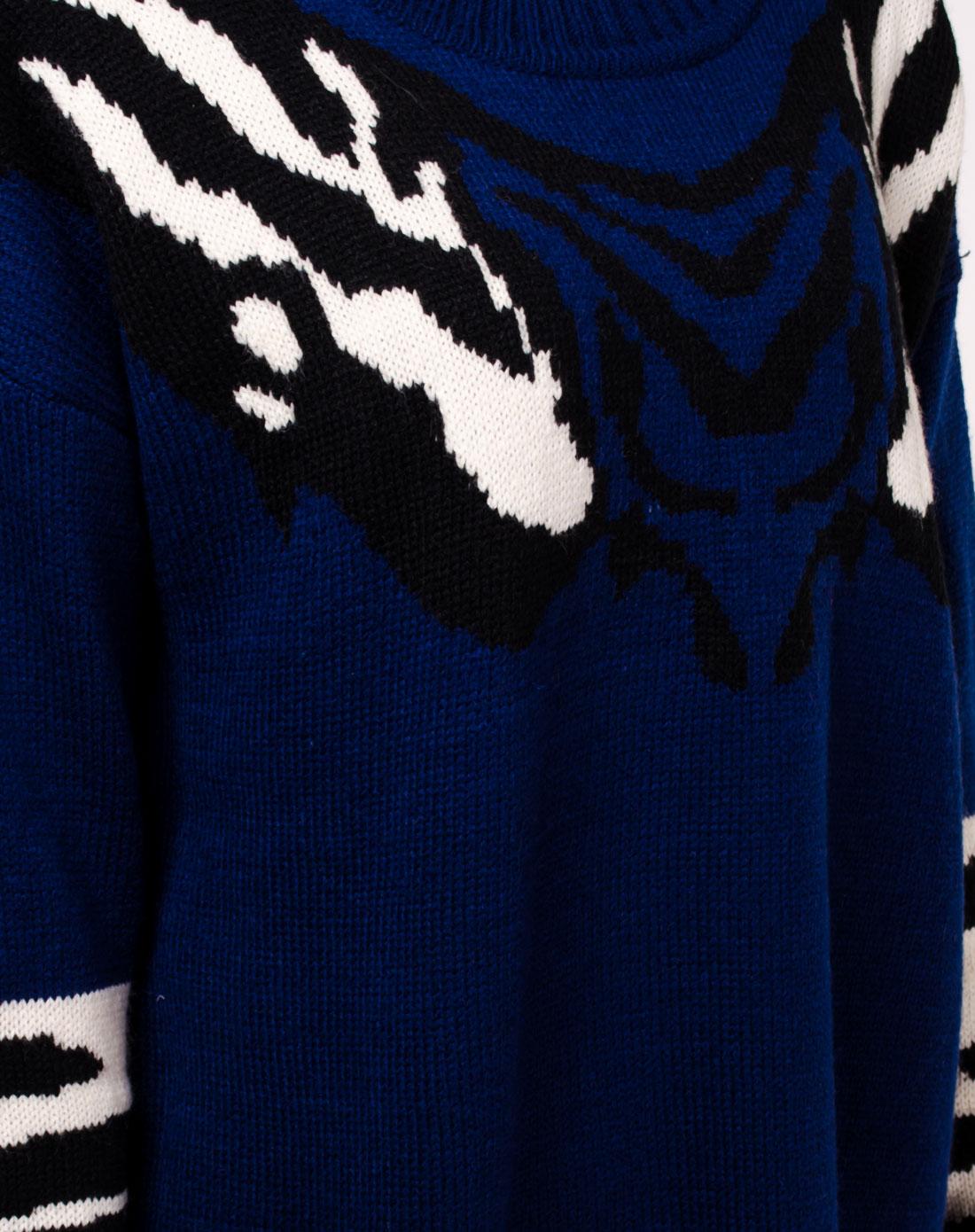 藏青色动物图案提花宽松版型毛衣