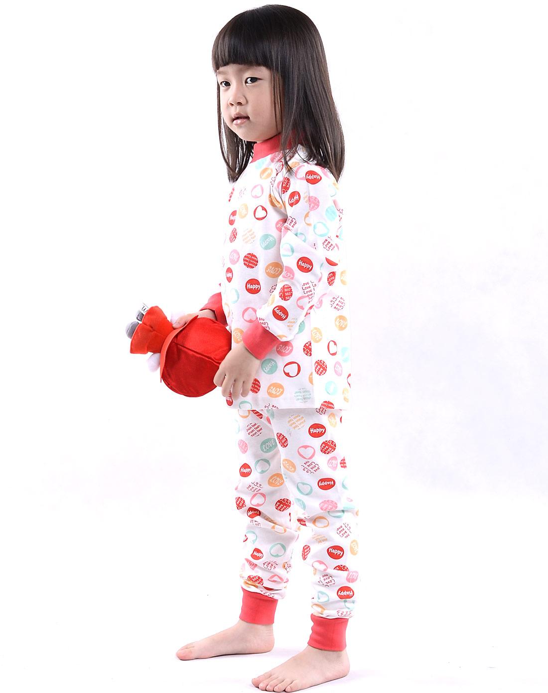 俞兆林男女保暖内衣女孩子大红色纯棉印花内衣套装