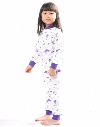 女孩子紫色纯棉印花内衣套装