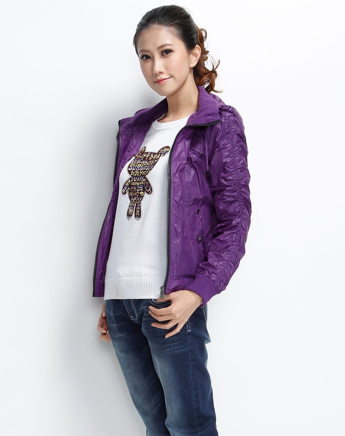 森马-女装-紫色暗纹连帽休闲长袖外套图片