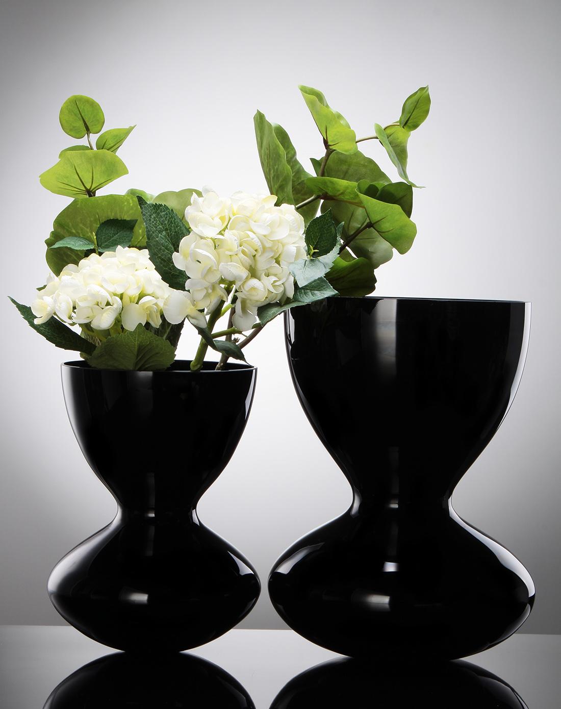 黑色黑瓷沙漏线插花花瓶