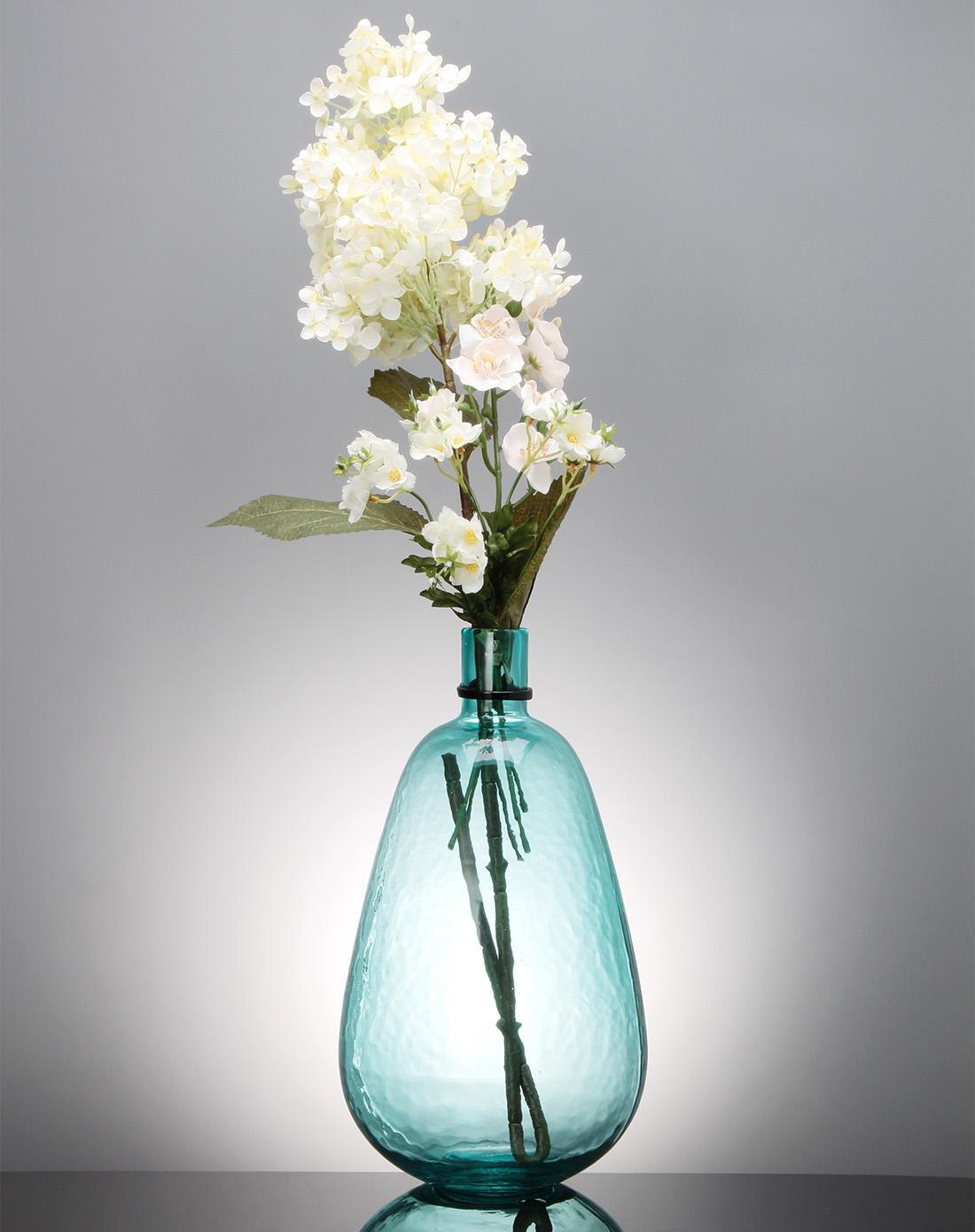 蓝绿色半透明弧形单枝插花花瓶