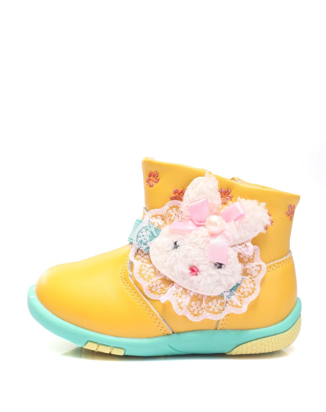 女宝宝黄色可爱卡通棉鞋