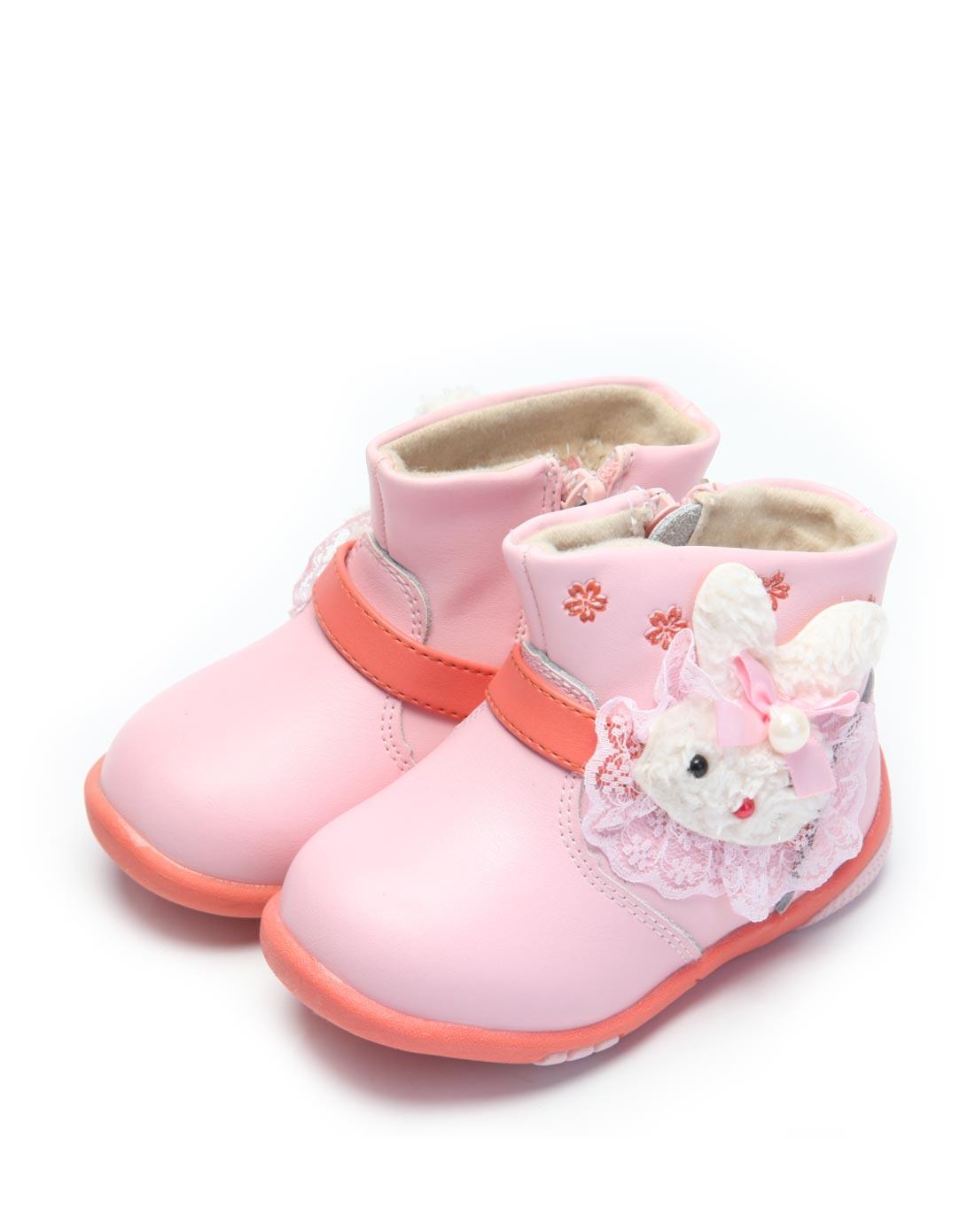 女宝宝粉红可爱卡通棉鞋