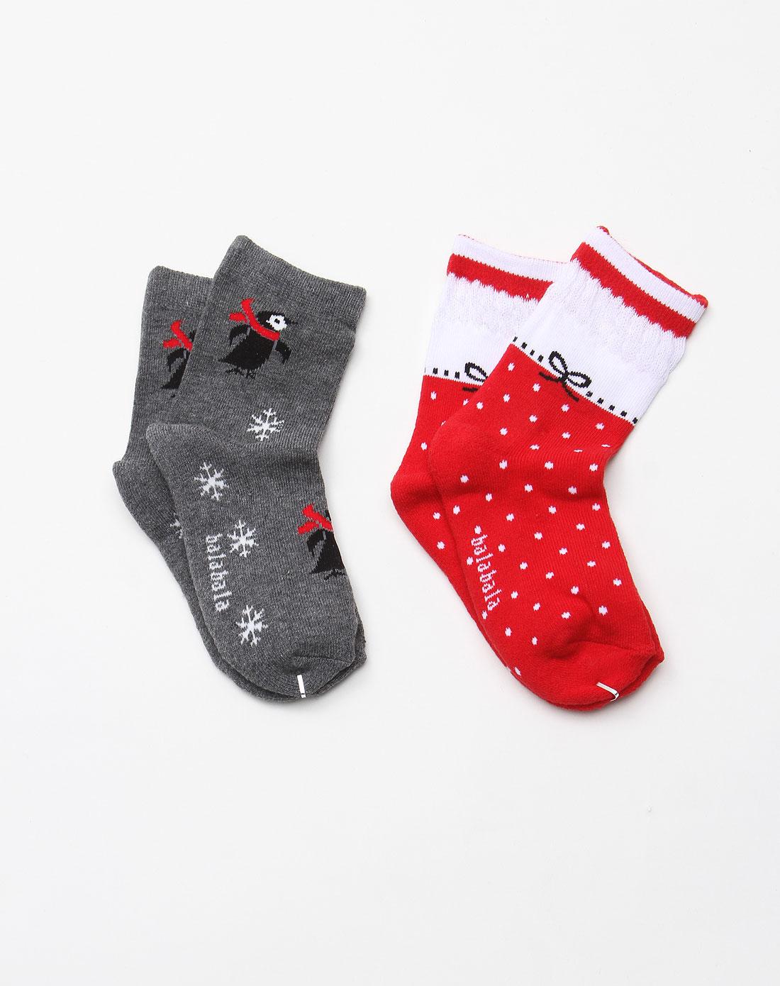 女童红灰色可爱卡通图案袜子(两对装)