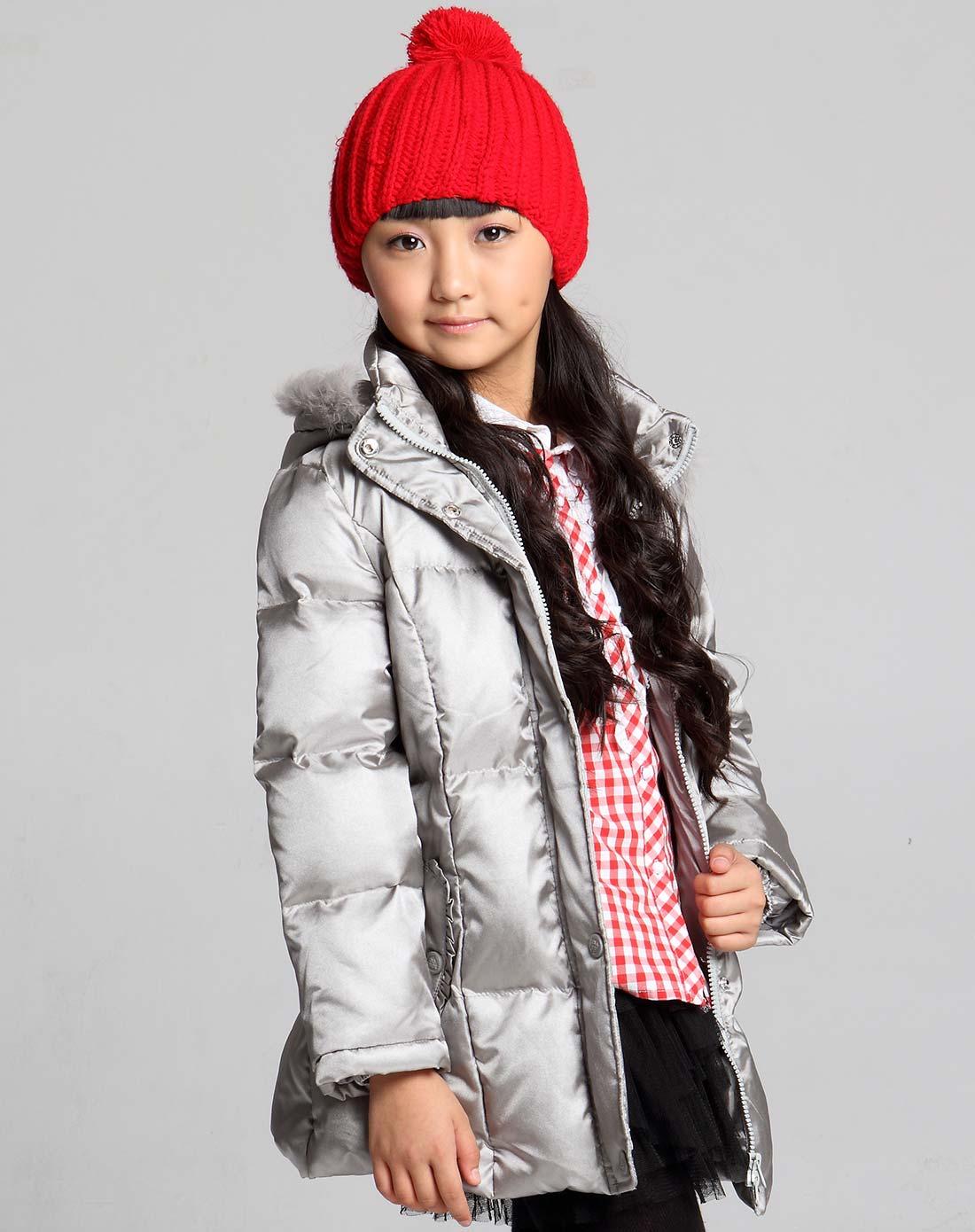 女童中灰带帽羽绒服