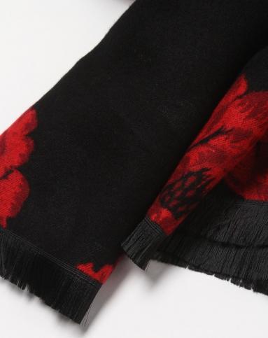 黑底红色牡丹花提花围巾