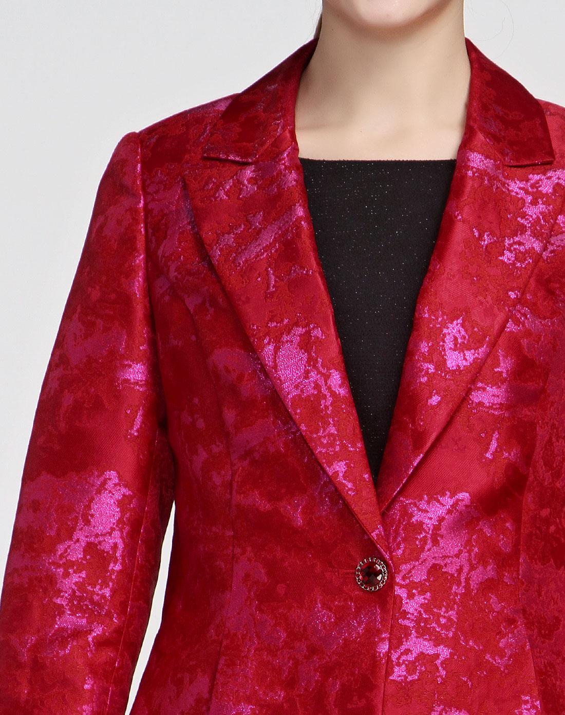 style大红色亮丽花纹长袖外套1m39317