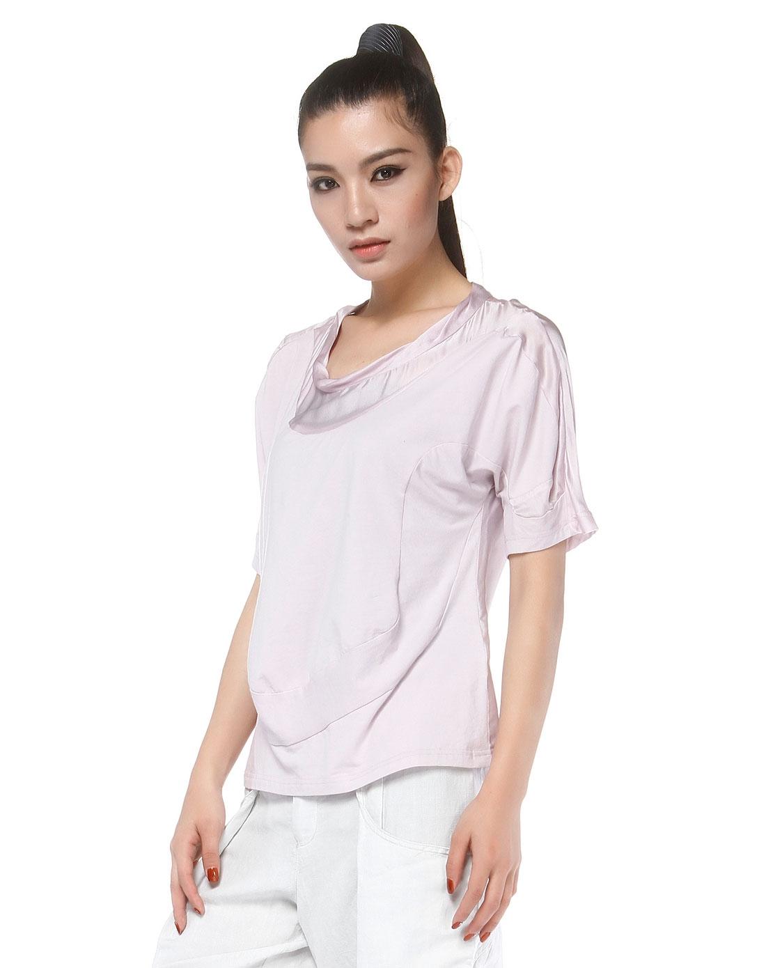 烟紫色撞料立体裁剪个性中袖t恤