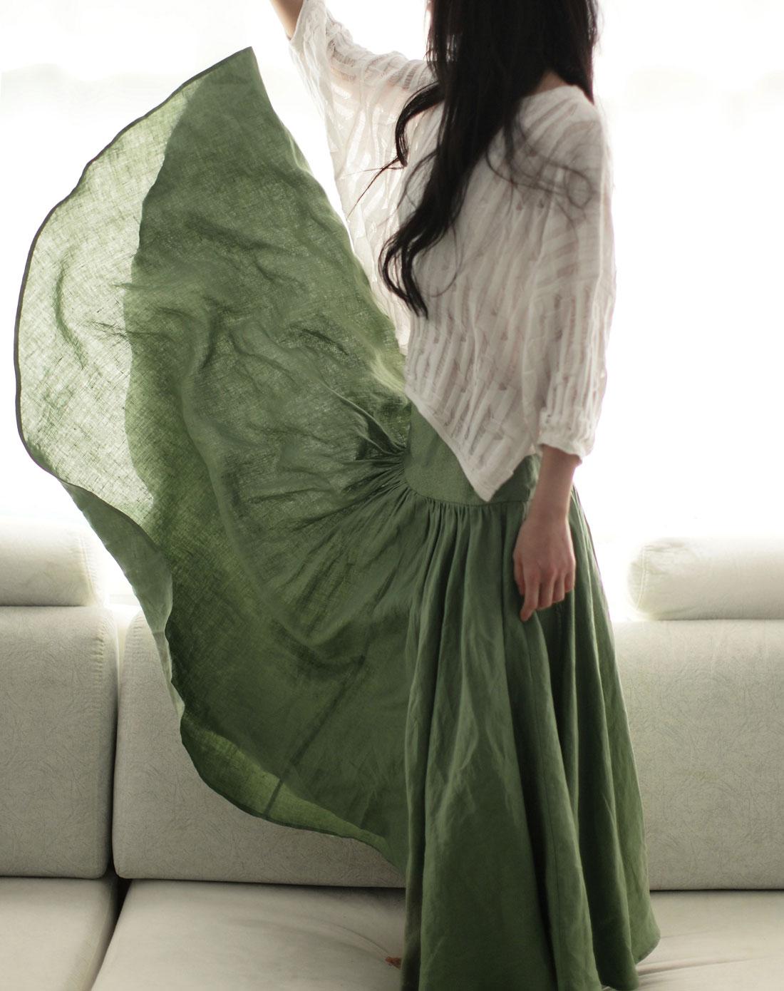 素缕souline军绿《重逢的喜悦》麻刺绣百搭半身长裙图片