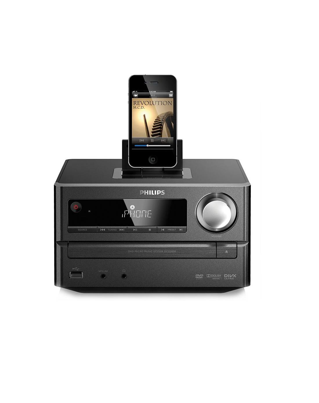 飞利浦dcm2030dvd迷你组合音响 iphone基座 支持cd/usb播放