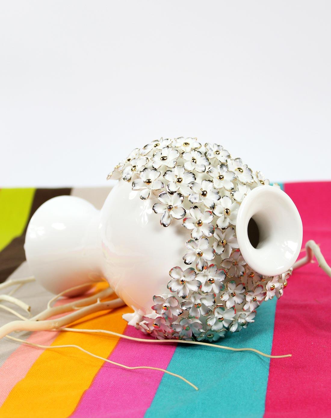 精致陶瓷手工粘花花瓶摆件bj046-b