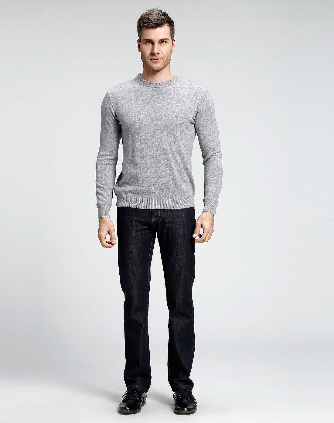 100%山羊绒浅灰色圆领长袖针织衫