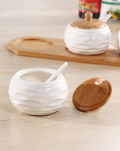 h&3家居用品专场欧式波纹白色陶瓷调味罐四件套