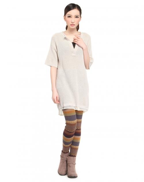 达衣岩 杏色舒适简约提花长款短袖针织衫