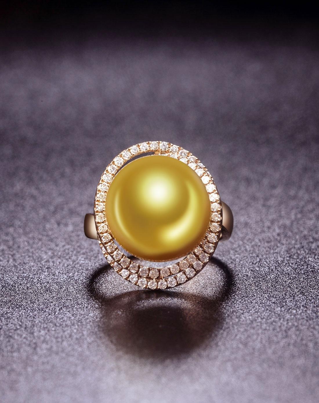 金珍珠18k金钻石戒指