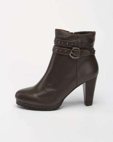 哈森harson女鞋专场-女款深咖啡色铆钉高跟短靴图片