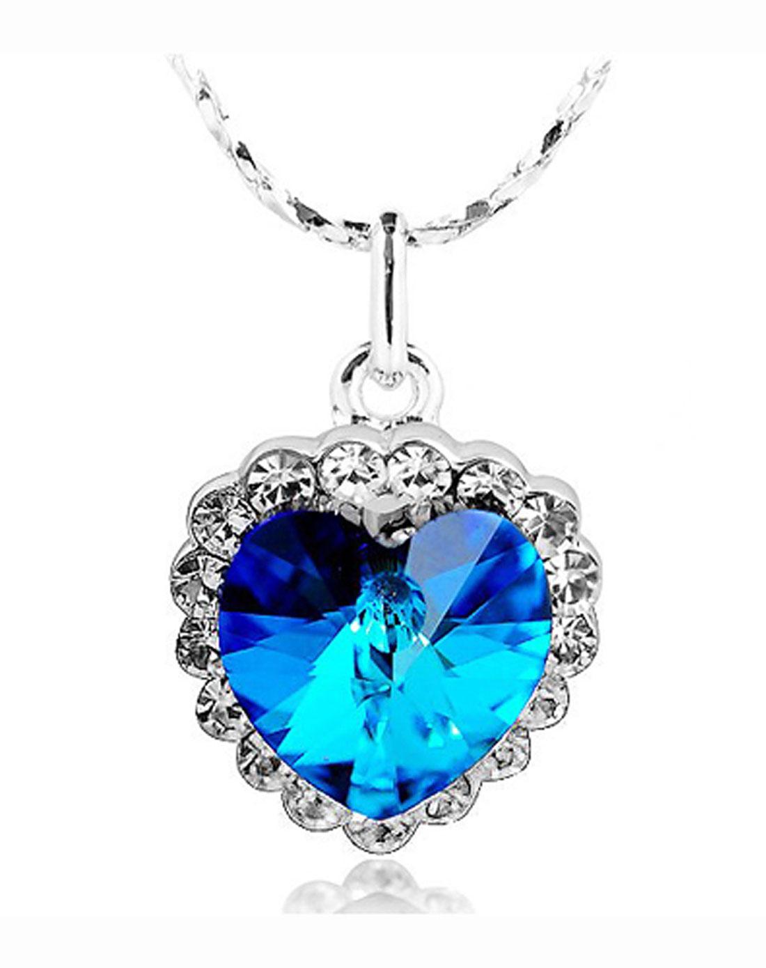 �Y��yd)_your-d蓝色梦幻海洋之心施华洛水晶项链yd100166_唯品
