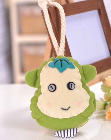 绿色超可爱卡通猴子抽拉式布艺钥匙包