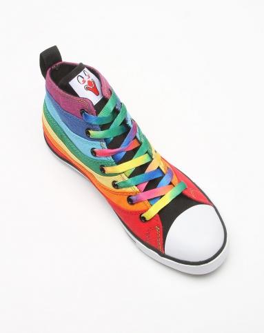 女款彩色中高邦彩虹系列小丑个性帆布鞋