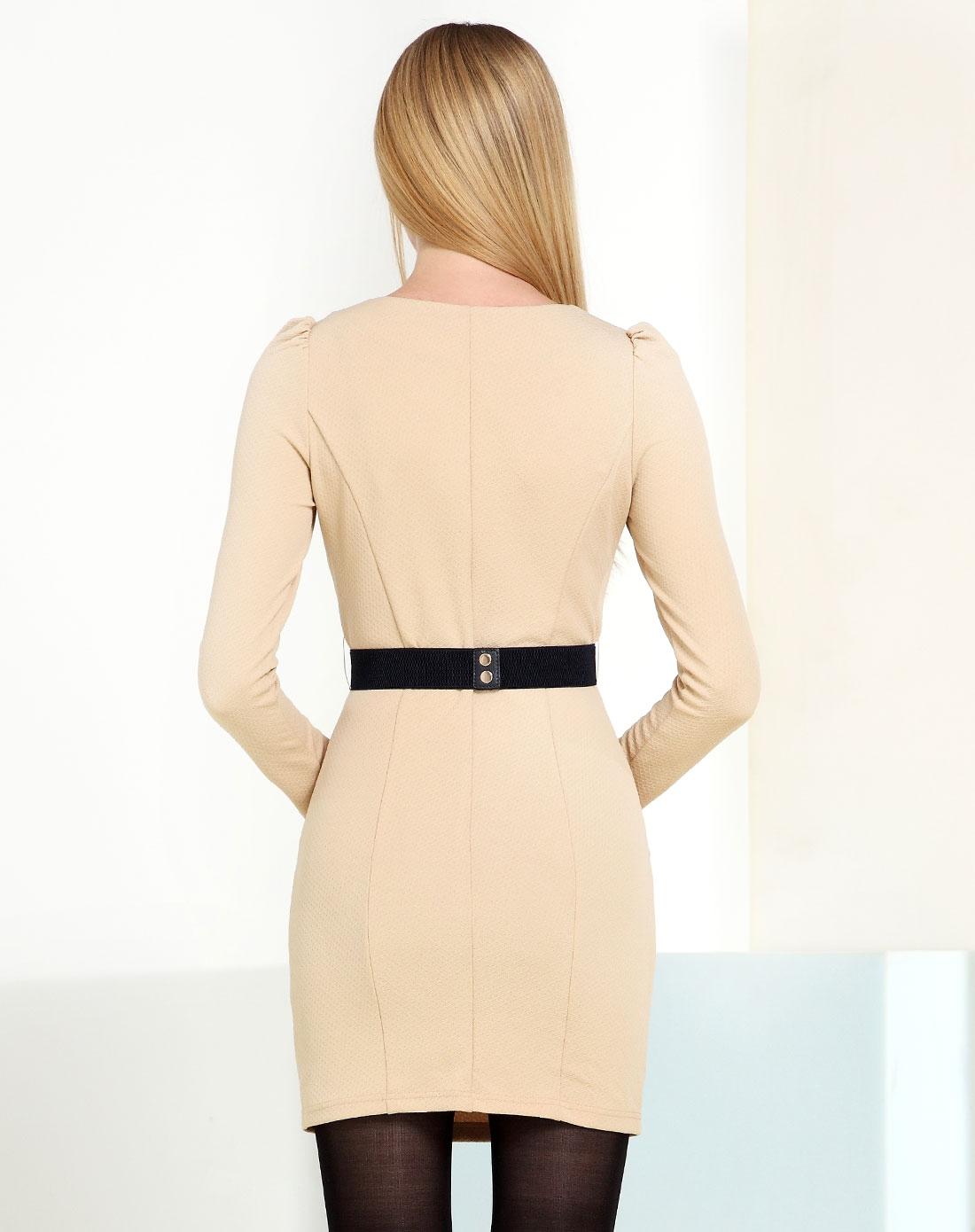 2014年新款 米色圆领淑女修身长袖连衣裙