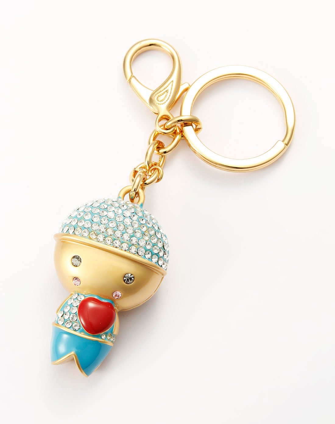 金/蓝色镶钻可爱小男孩钥匙扣