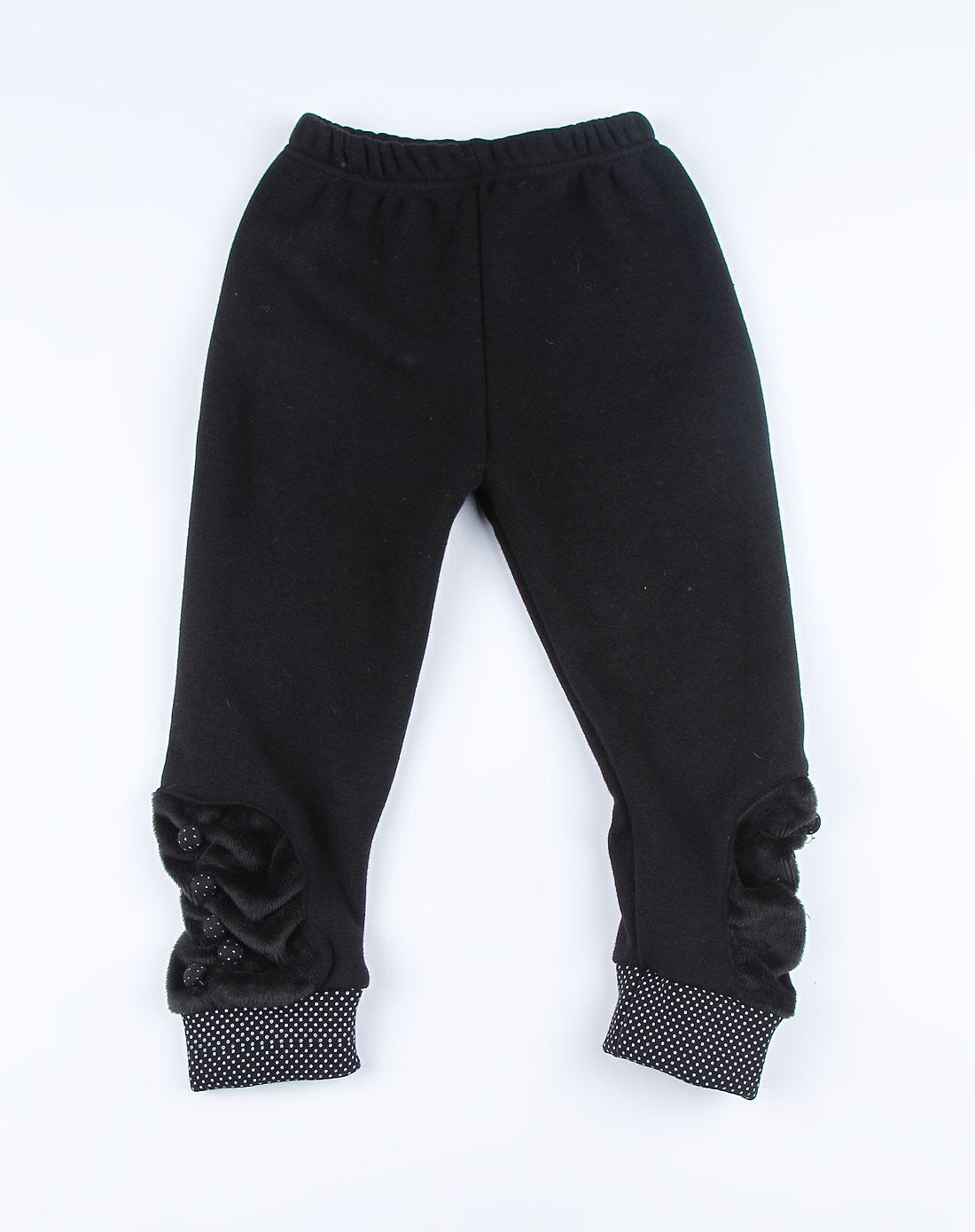 女童黑色可爱加厚打底裤