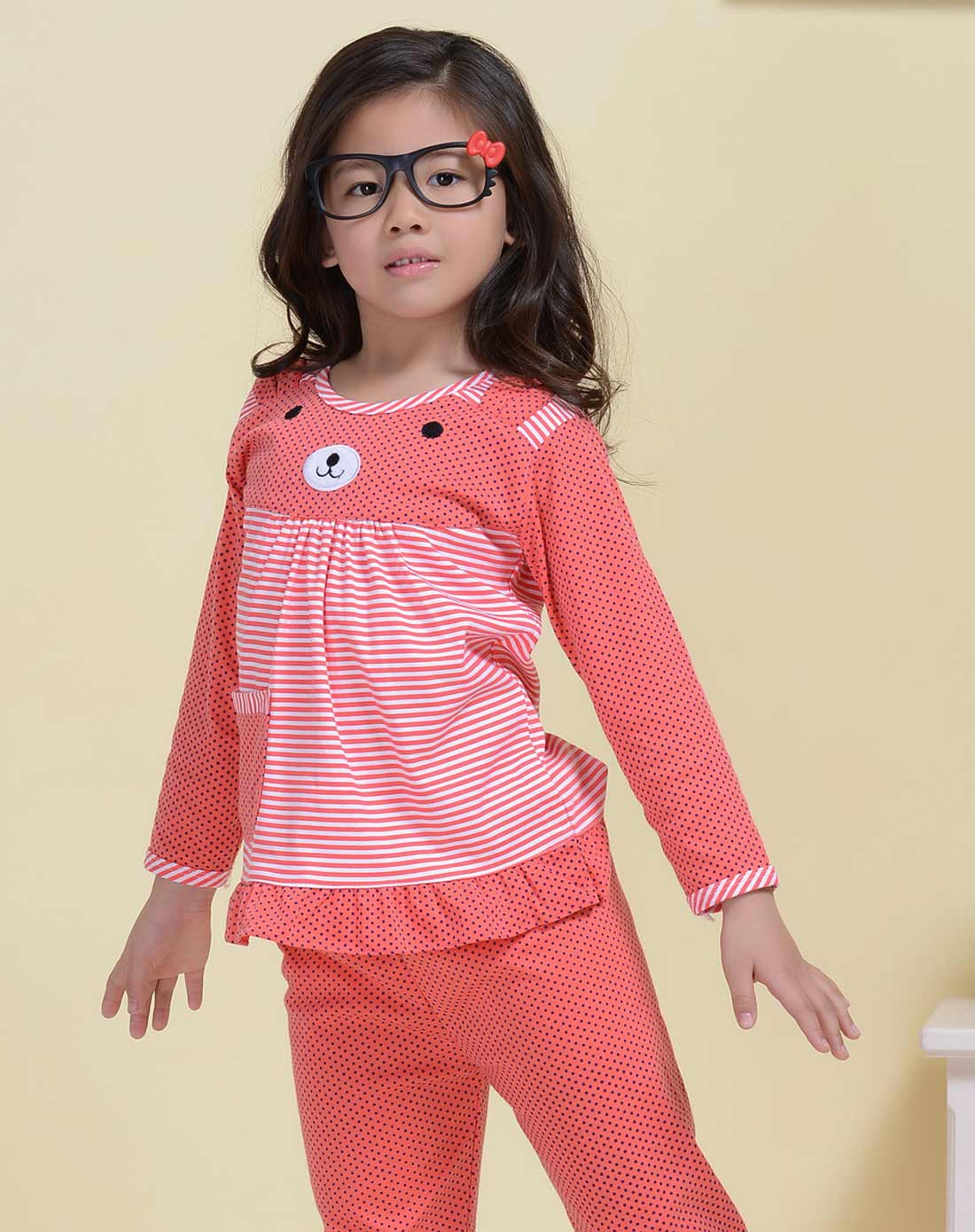 女童粉色儿童可爱纯棉家居服