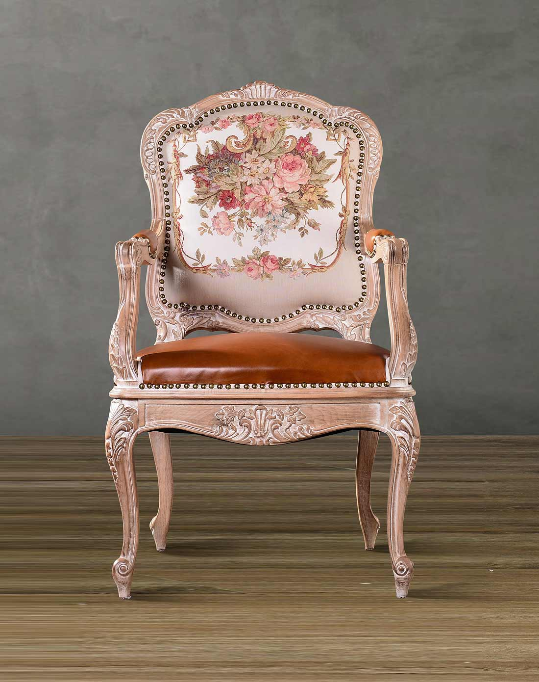 法式新古典欧洲进口白榉木家具 咖色牛皮花纹布艺单人沙发椅