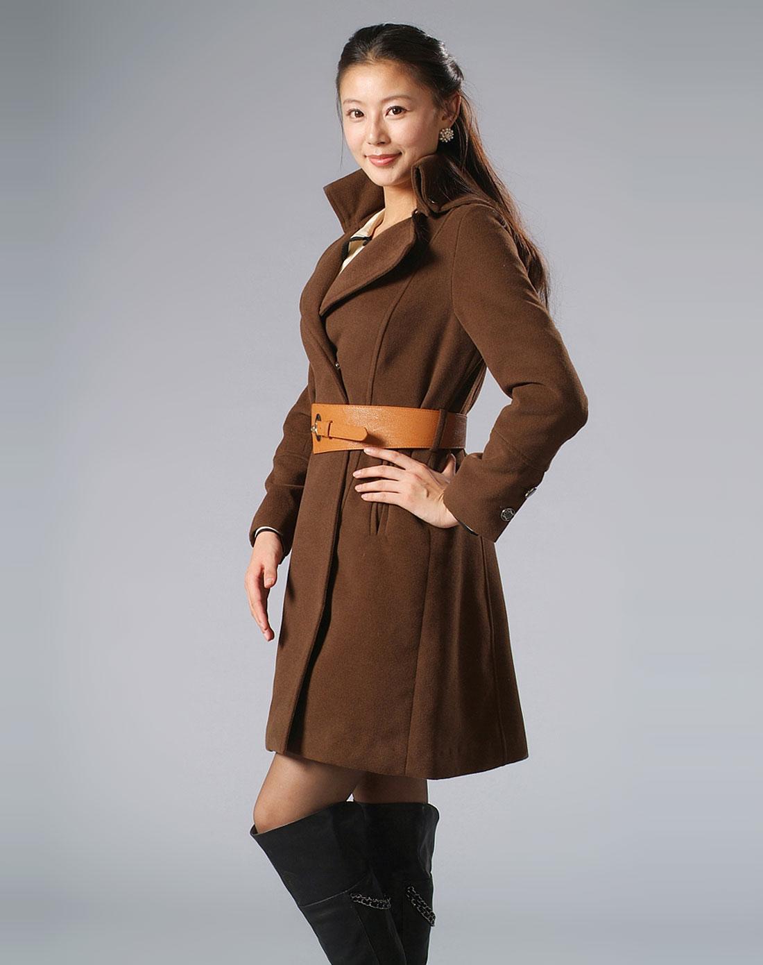欧范西装立领连帽束腰咖啡色尼大衣(赠同面料腰带)