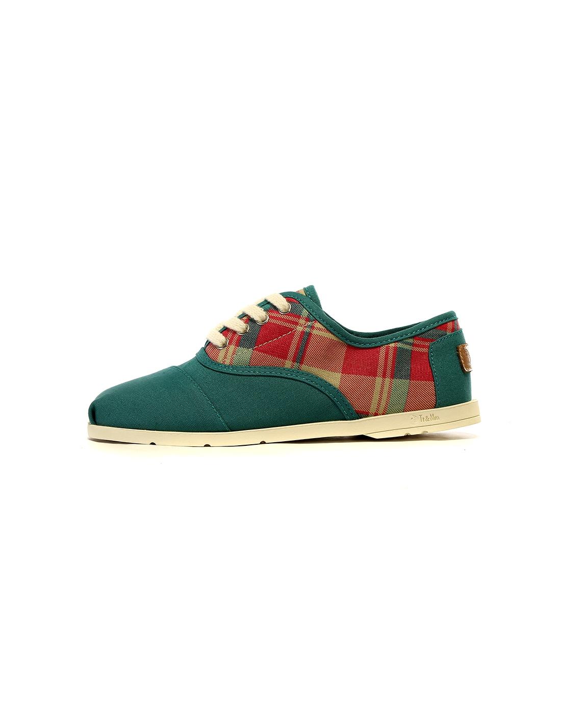 汤姆斯 女款绿色方格时尚休闲帆布鞋
