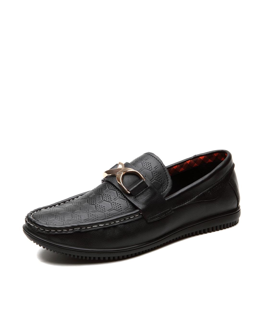 意尔康yearcon黑色牛皮时尚休闲单鞋31zr97298w-10