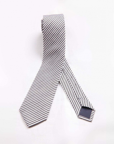 皮特丹顿pieedenton黑白色斜条纹领带pld11301-818