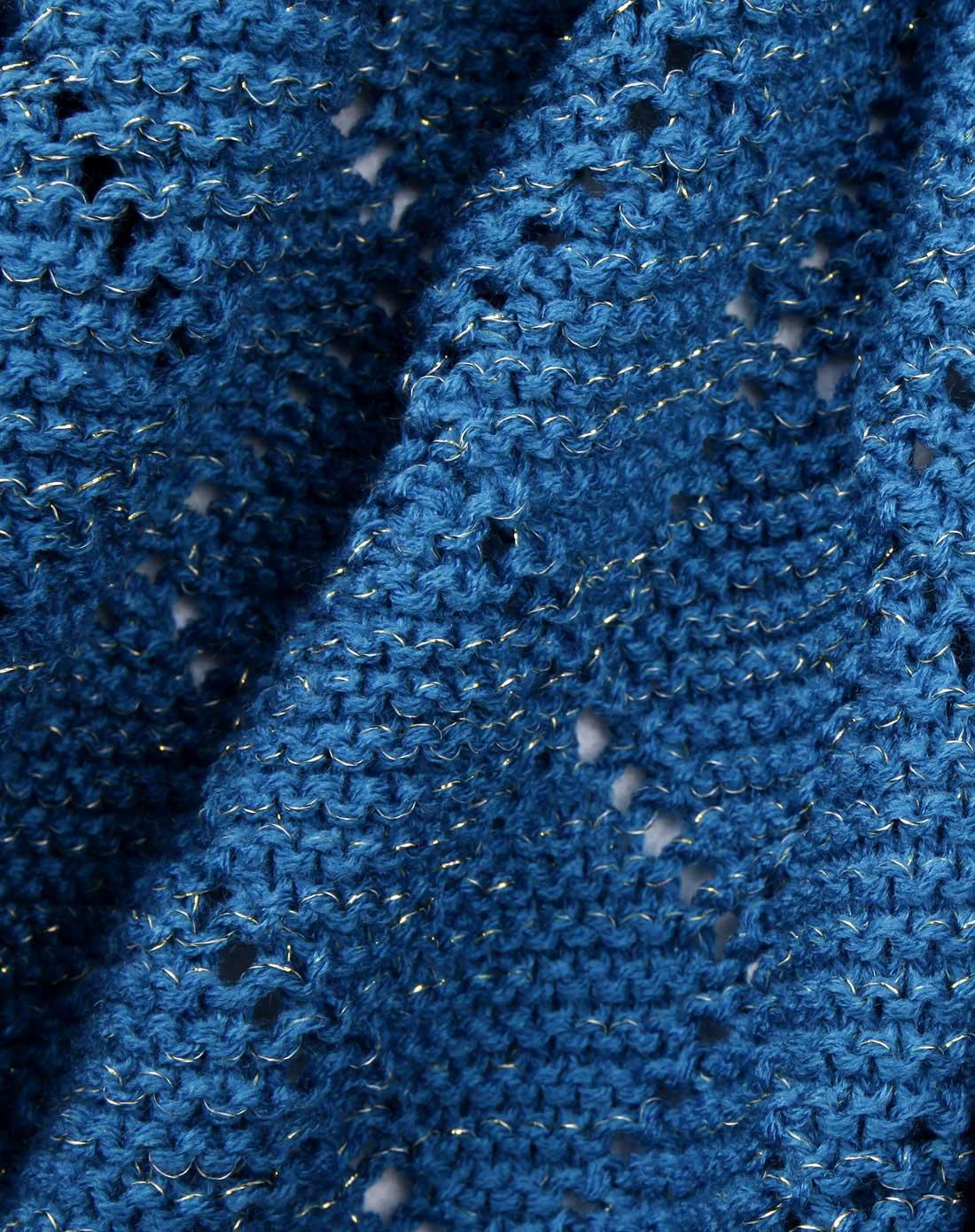 女款蓝色菱形编织纹简约百搭围巾
