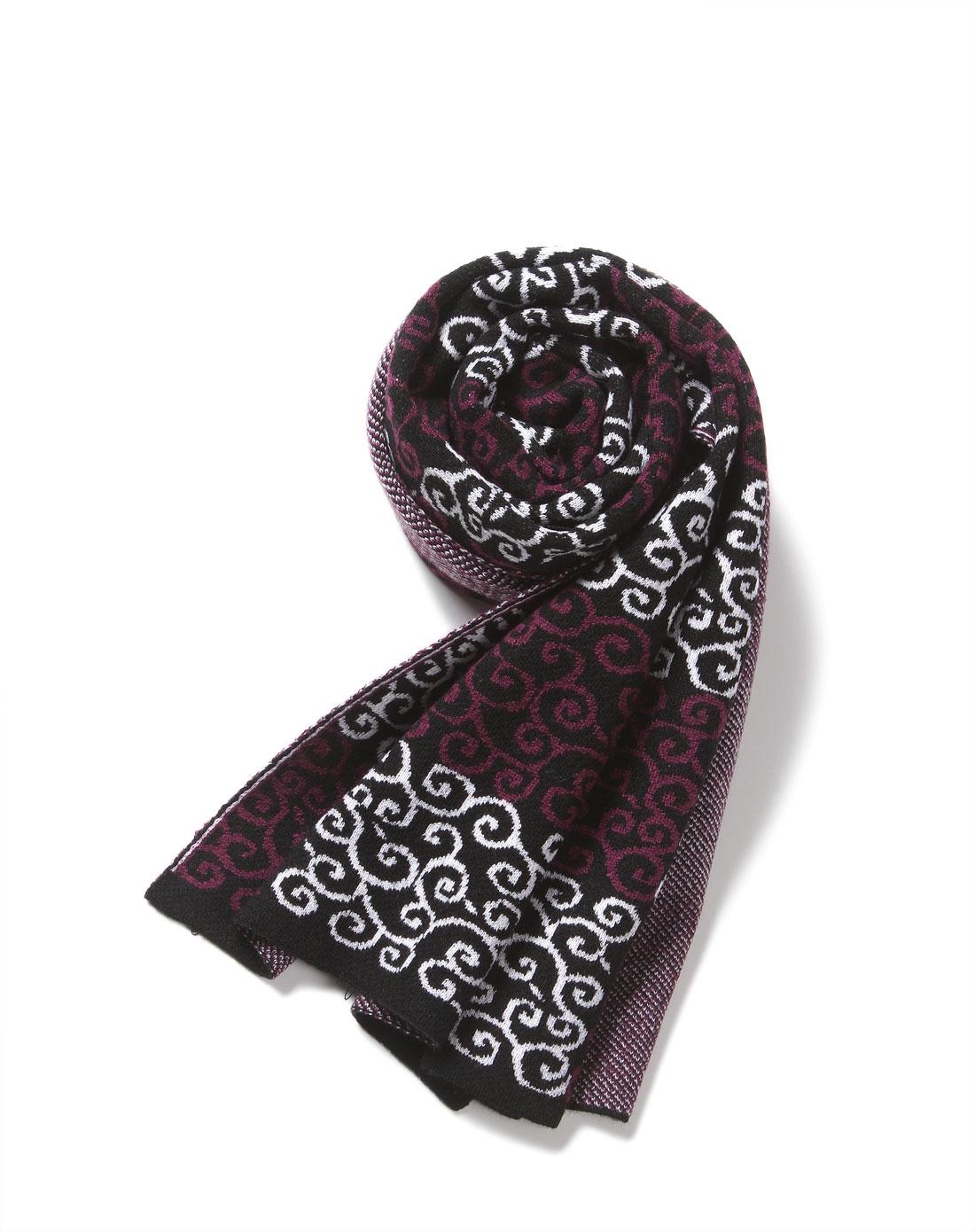 复古欧式织花紫白色针织围巾