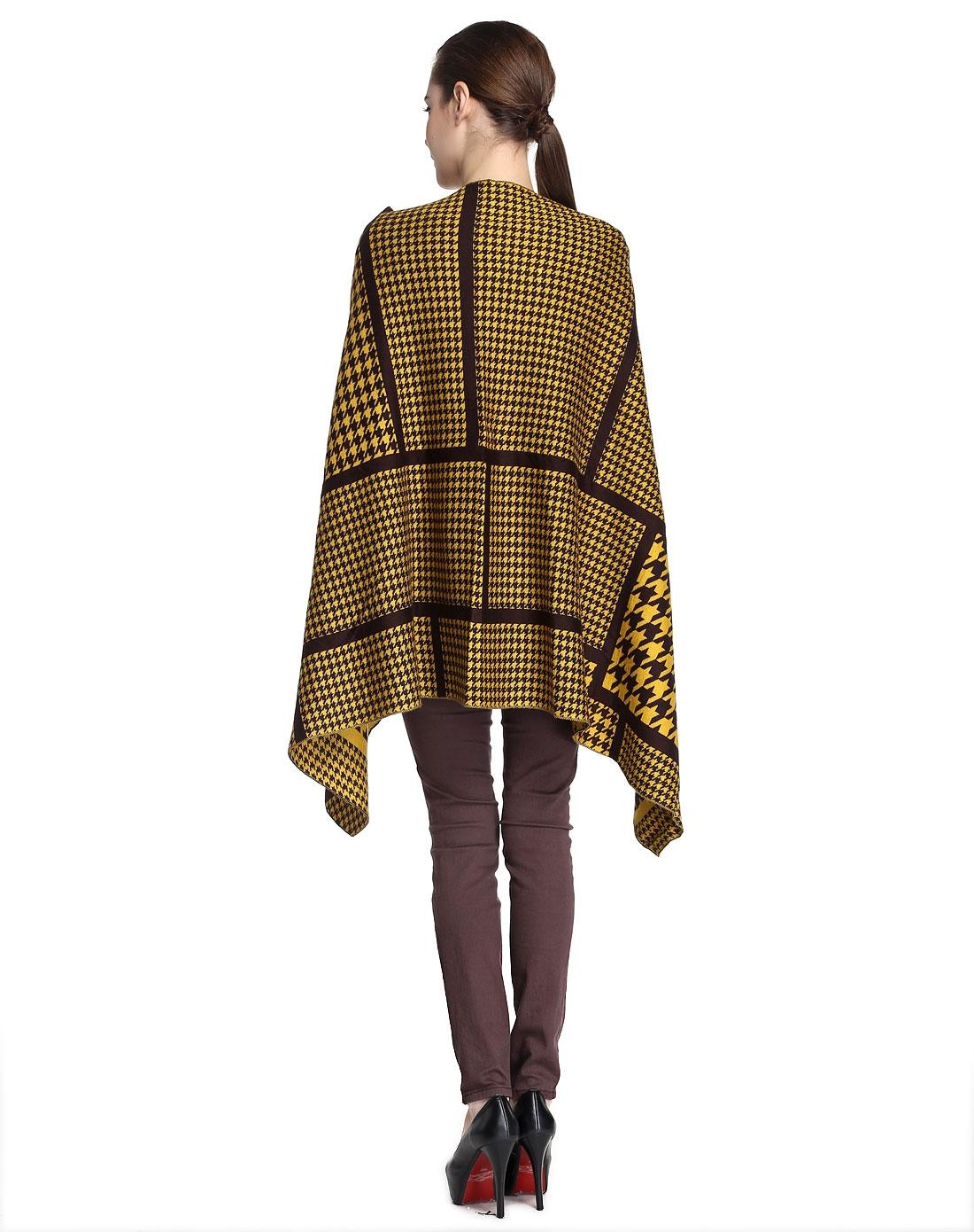 艺术千鸟格黄色针织斗篷式披肩上衣