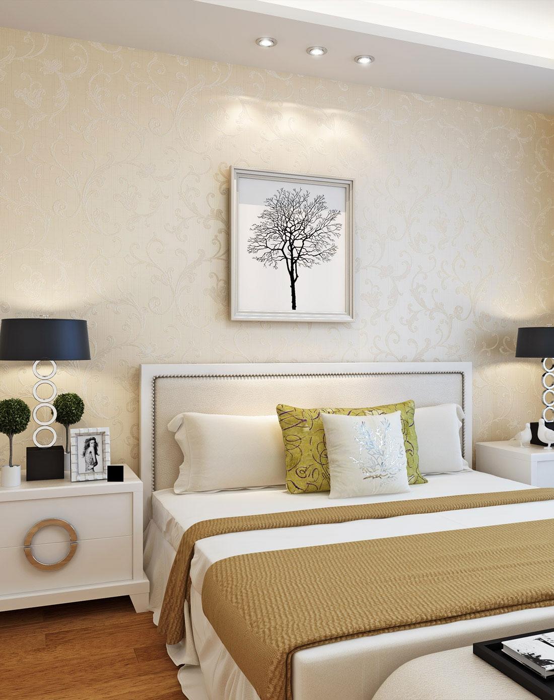 欧式简约莨苕叶无纺布客厅卧室背景壁纸