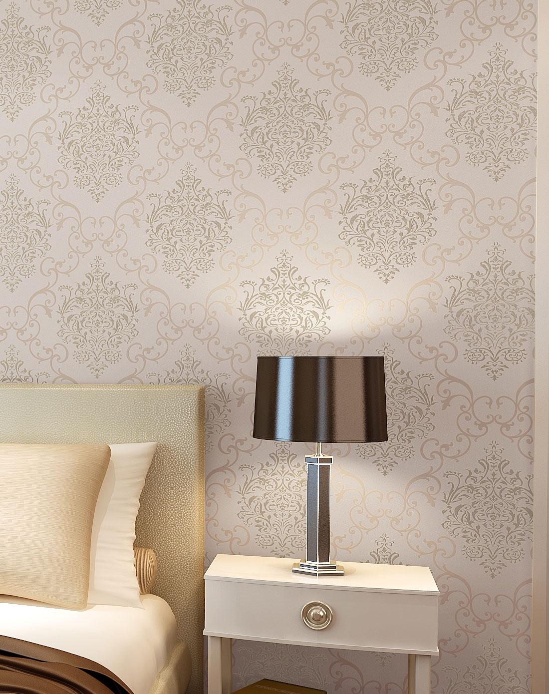 欧式无纺布经典大马士革客厅卧室背景墙壁纸